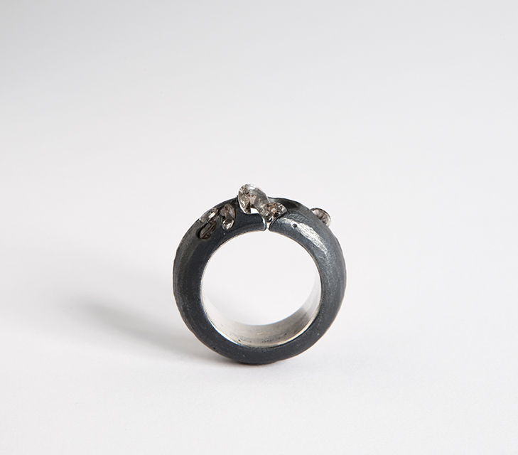 ring : patinated silver, synthetic spinel - 2014