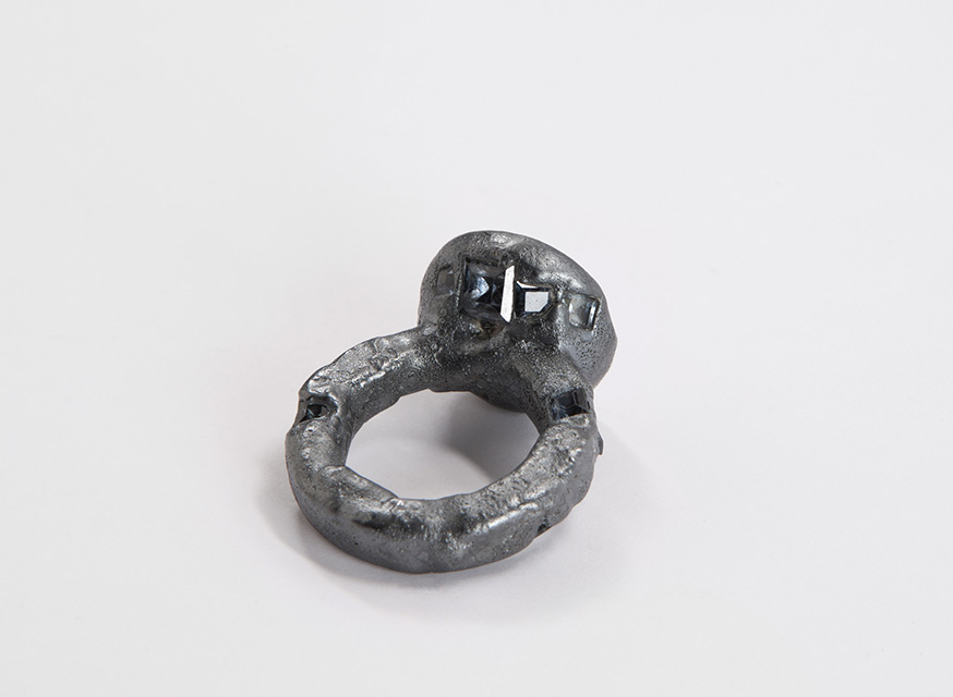 ring, 2015 :  silver, synthetic spinel, niello