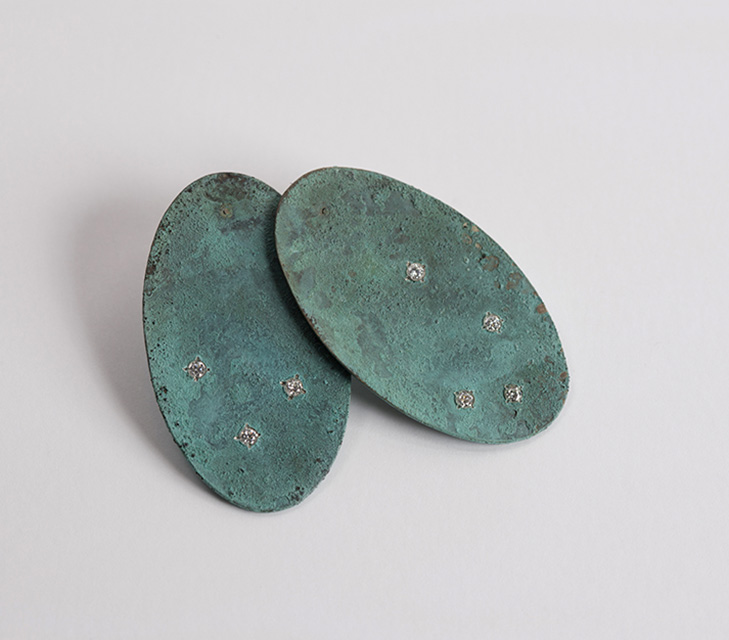 earrings, 2013 : patinated silver, gold, diamonds