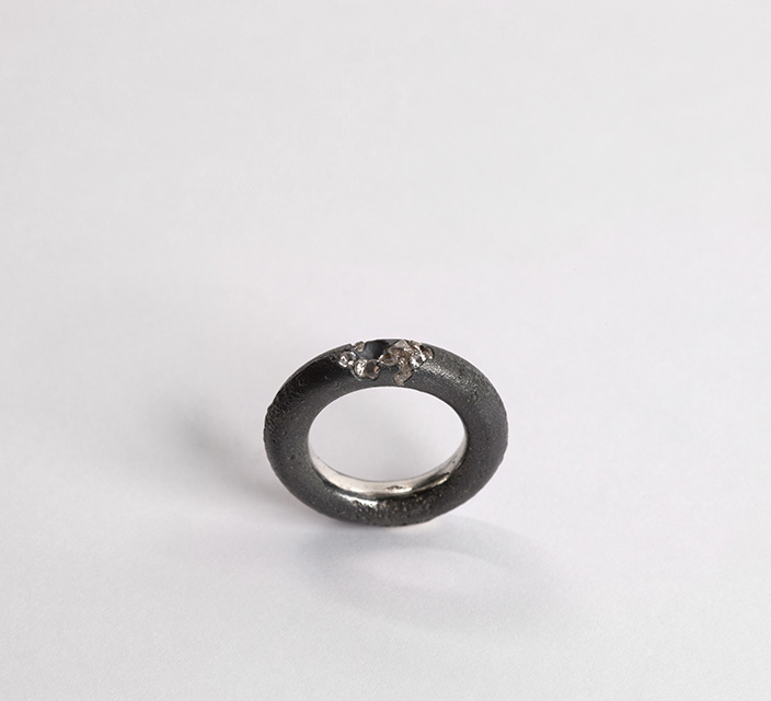 ring, 2013 : patinated silver, synthetic sapphire
