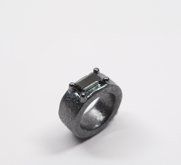 ring, 2013 : silver, synthetic spinel, niello