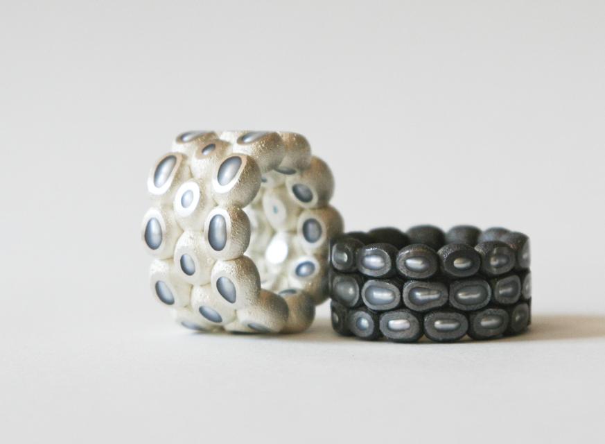 ring : silver, oxidized silver, copper, pearl - 2020