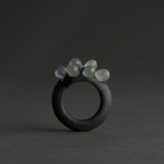ring : oxidized silver, aquamarin - 2018