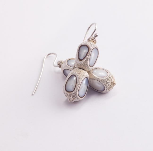 earrings : silver, copper, pearl - 2019