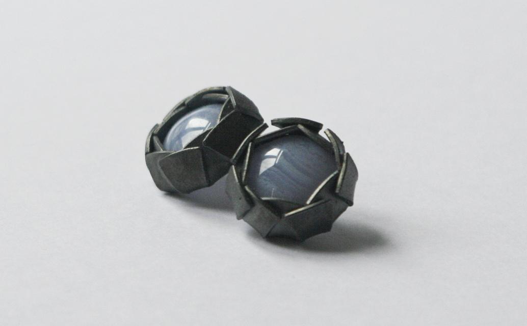 earrings : silver, chalcedony - 2020
