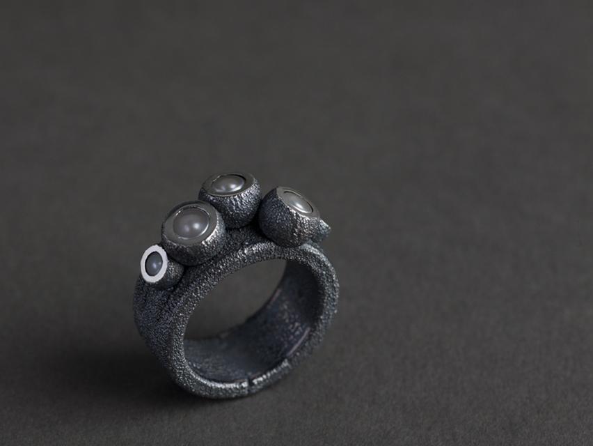 ring : silver, copper, pearl - 2017