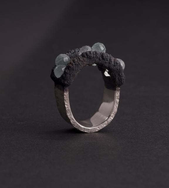 ring : silver, oxidized copper, aquamarin - 2019