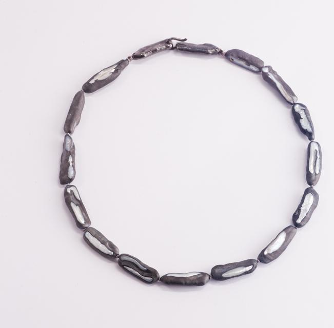 necklace : oxidized silver, copper, pearl - 2019