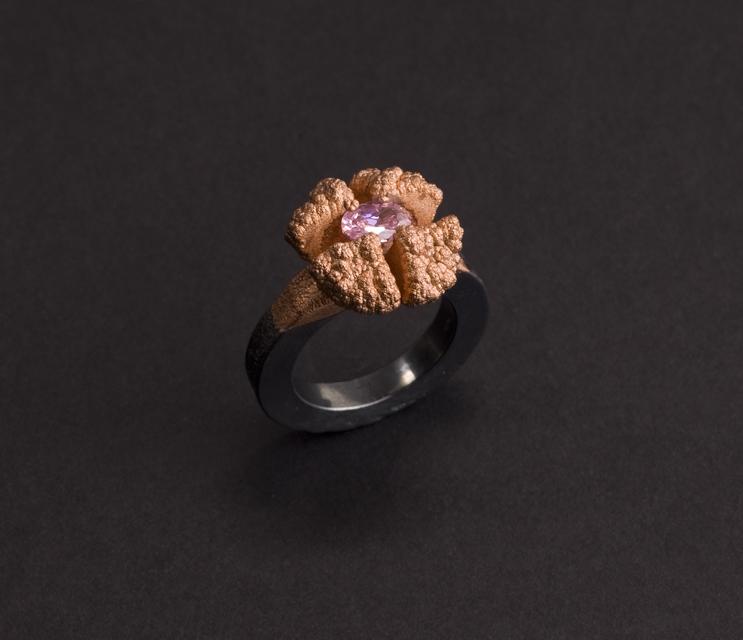 ring : oxidized  silver, copper, cubic zirconium - 2019