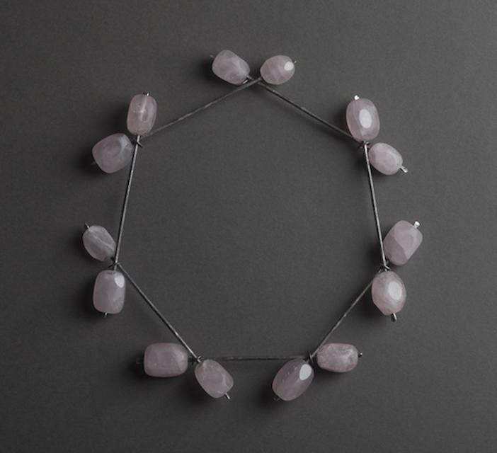 necklace : oxidized silver, rose quartz - 2018