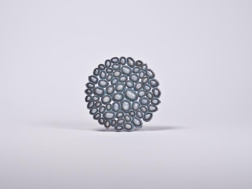 brooch :  oxidized copper, copper, silver, iron, pearl - 2020