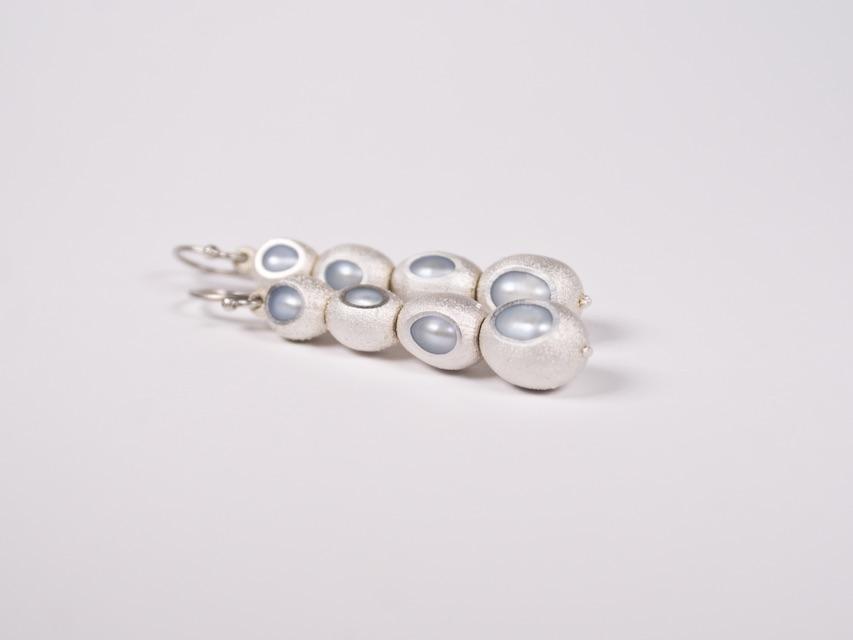 earrings :  silver, copper, gold, pearl - 2020